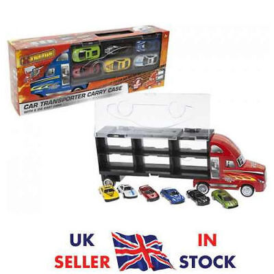 Carrier Truck Toy Car Transporter Includes 6 Metal Cars For Boys Christmas gifts
