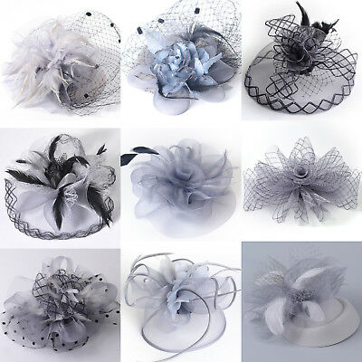 Lady Gray Fascinator Hair Clips Bridal Headwear Pillbox Hat Handmade Gift Girl