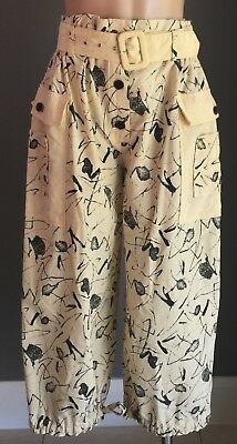 Vintage FRIEND HOUSE Pale Yellow & Black Paper Bag Waist Wide Leg Pants Size 10