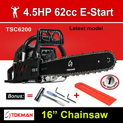 "New TDKMAN 62CC Petrol Chainsaw Chain Saw 16"" Inch Bar Tree Log Pruning Pruner"