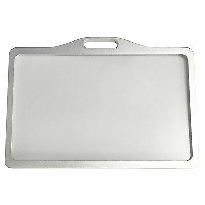 Badge ID Business Card Holder Trade Show Conference Aluminum Metal Horizontal