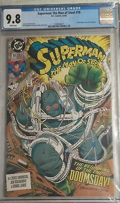 Superman Man of Steel 18 CGC 9.8 First Appearance Doomsday White Pages