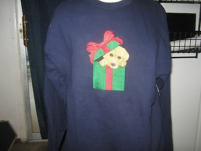 Puppy In Christmas Present Embroidered Sweatshirt