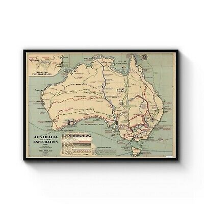 1938 Exploration Map of Australia Old Vintage Art Poster Print - A4 to A0 Framed