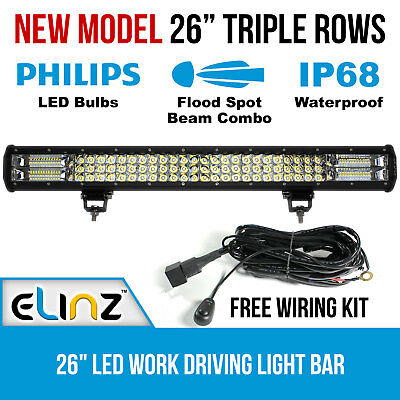 "26"" 3 Rows LED Light Bar Work Driving Philips FLOOD SPOT COMBO 4WD 20"" 23"" Elinz"