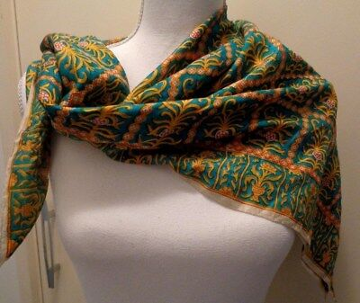 Vintage patterned silk scarf with hand rolled edges