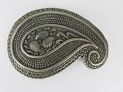 Etched paisley belt buckle dark washed Pewter tone Simple minimal