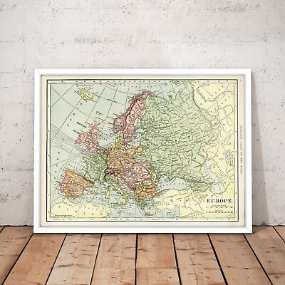 1901 Map of Europe Old Vintage Historical Map Art Poster Print - A4 to A0 Framed