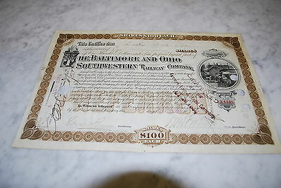 Stock Certificate - The Baltimore And Ohio Southwestern Railway Company – 1894