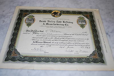 Stock Certificate - Death Valley Talc Refining & Manufacturing Co. – Nevada 1920
