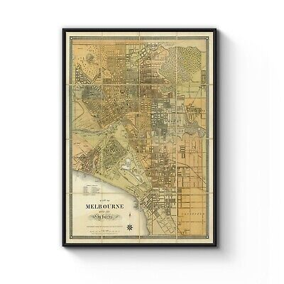 1879 Map of Melbourne Old Vintage Art Poster Print - A4 A3 A2 A1 A0 B1 Framed