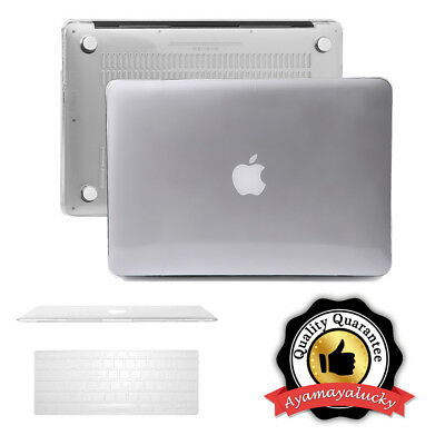 """Clear Plastic Hard Case Crystal+Keyboard Cover MacBook Air Pro Retina 11 13"""" 15"""""""