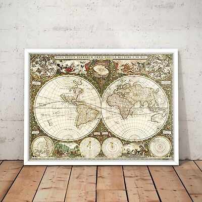 1660 Vintage World Map Old Exploration Rare Art Poster Print - A4 to A0 Framed