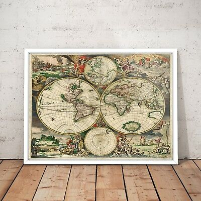 1938 exploration map of australia old vintage art poster print a4 1689 vintage world map old exploration rare map art poster print a4 a3 framed gumiabroncs Gallery