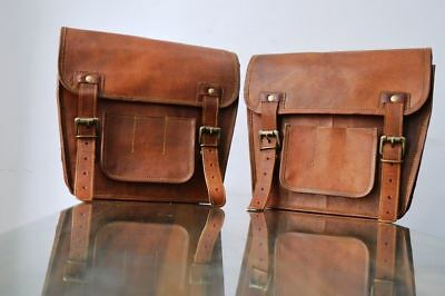 Motorcycle Pouch Brown Leather Bag Side Pouch 2 Bag Saddlebags Saddle Panniers