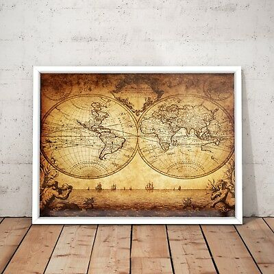 1733 Vintage World Map Old Exploration Rare Art Poster Print - A4 to A0 Framed