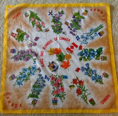 Vintage Flags and Flowers of Canada made in Italy scarf