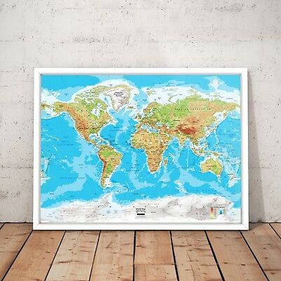 Map of the World Art Poster Print - A4 A3 Framed