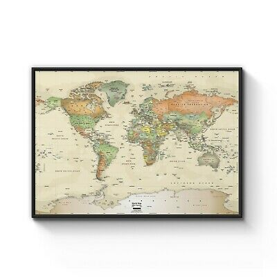Map of the World Brown Beige Vintage Classic Art Poster Print - A4 A3 Framed