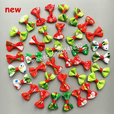 50pcs/lot Dog Hairpin Pet Bow Xmas Tie Hair Clip Puppy cat Bowknot barrette gift