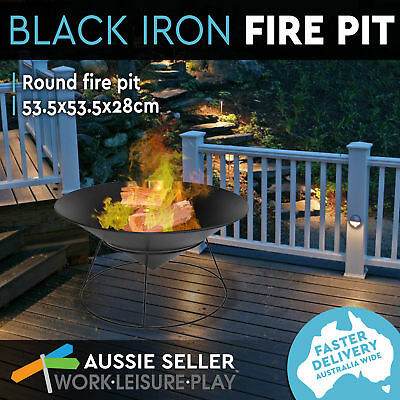 Cast Iron Fire Pit Round Bowl Outdoor Open Fireplace Pirepit Patio Heater 53cm
