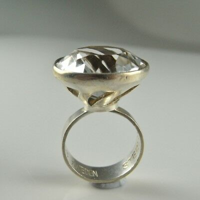 Quartz Rock Crystal 925 Sterling Silver Modernist Ring Unisex Space Solitaire