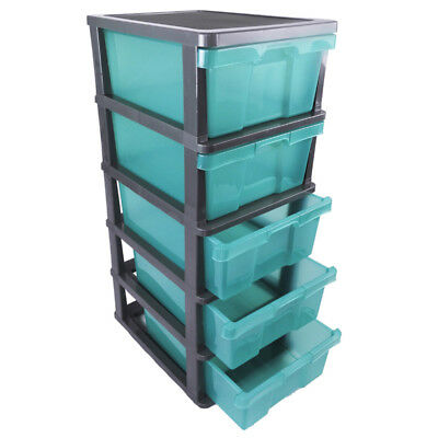 CLEARANCE - 5 Drawer Plastic Storage Organiser Trolley Cabinet with Wheels TEAL
