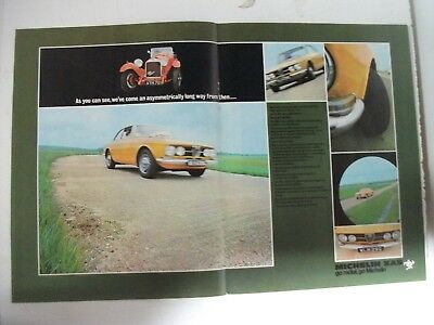 1969 Michelin Xas Tyres Featuring Alfa Romeo Gtv 2 Page British Magazine Advert