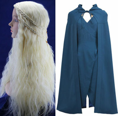 Game of Thrones Daenerys Targaryen Dany Cosplay Kostüm + Perücke wig Damen Gr. S