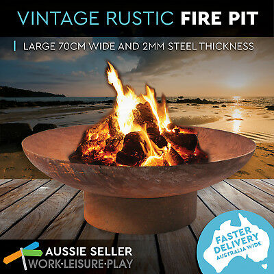 70cm Rusted Fire Pit Outdoor Fireplace Open Patio Heater Garden Plant Bowl