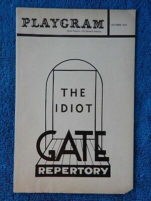 The Idiot - Gate Theatre Playbill - October 1960 - Andrew Cox - Peggy Allenby