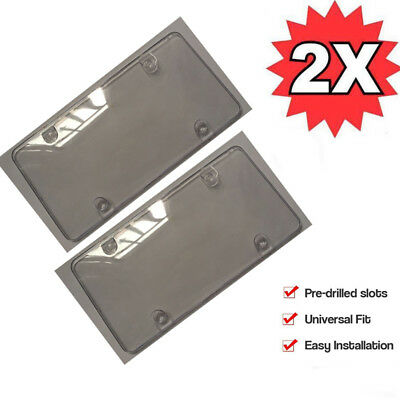 Zone Tech 2x Flat License Plate Cover Shield Tinted Plastic Tag Protector