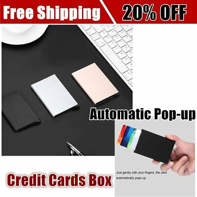 Automatic Pop-up Business ID Credit Card Holder Portable Metal Travel Card Box A