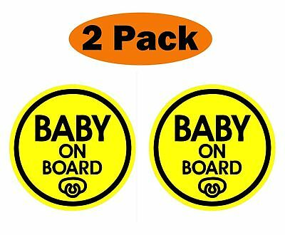 (Set of 2) Pacifier Baby on Board Magnet Decal Safety Caution Sign for Bumper