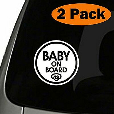 (Set of 2) Pacifier Baby on Board Sticker Decal Safety Caution Sign Car Window