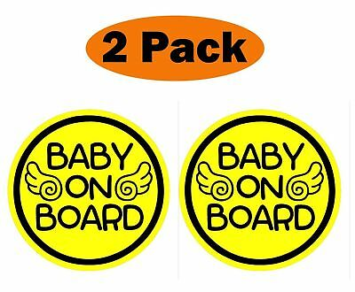 (Set of 2) Angel Wings Baby on Board Magnet Decal Safety Caution Sign for Bumper