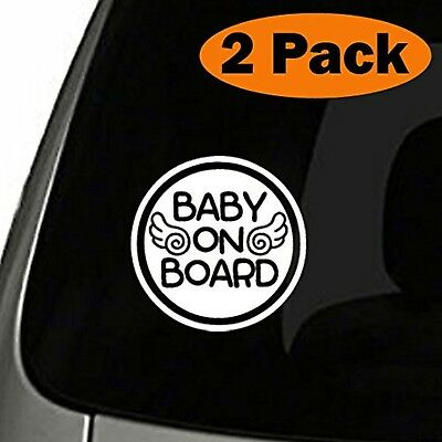 (Set of 2) Angel Baby on Board Sticker Decal Safety Caution Sign Car Window