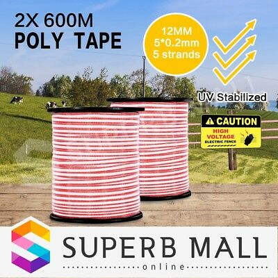 Stainless Steel Insulator Roll Ploytape Energiser Electric Fence Poly Tape 1200M