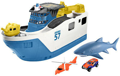 Kids Toy Shark Ship Mega-Sized Ship Floats In Water & Rolls On Land Matchbox NEW