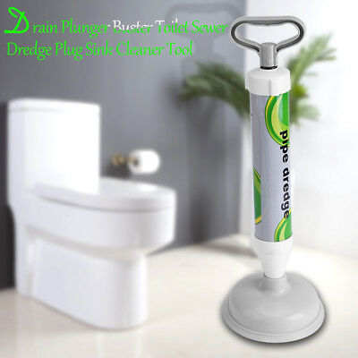 Power Drain Plunger Buster Toilet Sewer Dredge Plug Sink Cleaner Tool 45x17cm SS