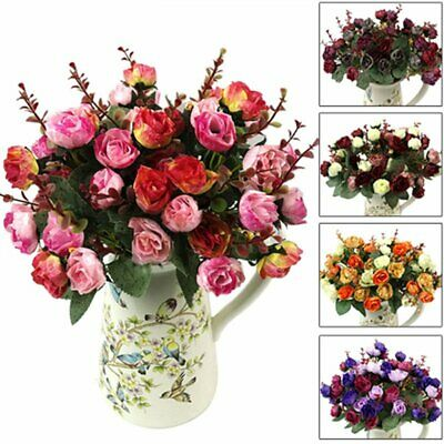 21 Heads Artificial Silk Fake Rose Flower Floral Wedding Bouquet Party Home Deco
