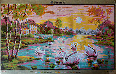 Printed needlepoint canvas Swans  tapestry gobelin  A.2025