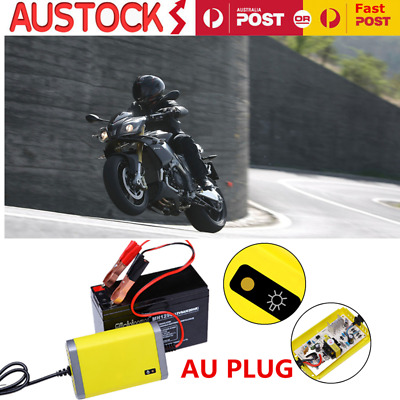 Motorcycle Battery Trickle Charger 12 Volt 12V 2A Car Jet Ski Dirt Trail Bike