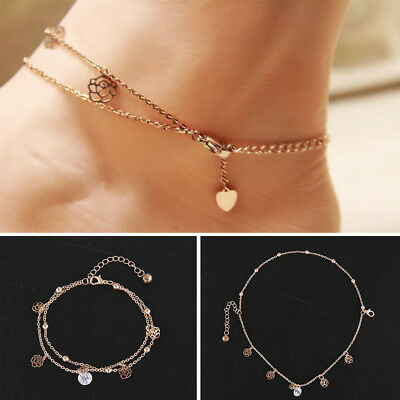 Beach Fashion Charm Rose Gold Ankle Bracelet Chain Foot Anklet Jewelry UK