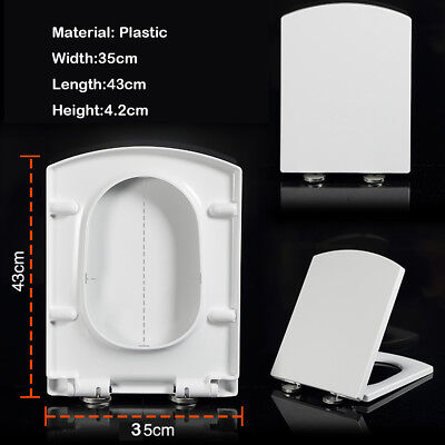 Modern Square Soft Close Toilet Seat WC Top Fixing Hinges Easy Clean White UK NE