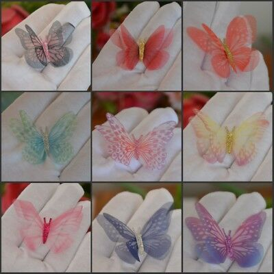 5cm Double Sided Organza Fabric Butterflies Wings Craft Jewelry Bows Deco