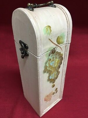 Decorative Wood Box Single Bottle Felt Lined Wine Bottle Carrier Tote