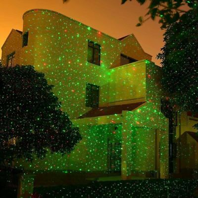 Waterproof Outdoor LED Light Xmas R&G Lawn Garden Laser Projector Moving Stage