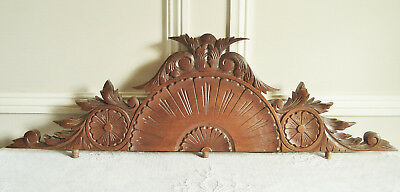 Superb French Wooden Pediment Furniture Mount Carved Motifs Acanthus Leaves