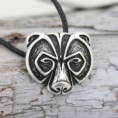Unique Ancient Celtic Silver Nordic Viking Bear Head Pendant Talisman Necklace
